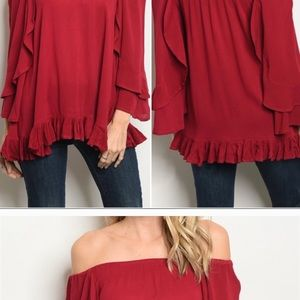Red Wine Off Shoulder Blouse!😍😍😍😍
